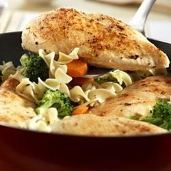 Quick Chicken and Noodles Recipe - Swanson(R) Stock is an easy way to add flavor to skillet meals like this sauteed chicken, vegetable and noodle homestyle supper.