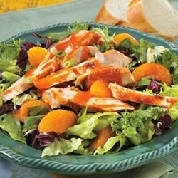 Grilled Chicken and Orange Salad Recipe - Chicken grilled and basted with a tangy tomato-vinegar-soy-ginger sauce tops a bed of greens with mandarin orange segments and green onions.