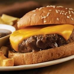 Campbell's Kitchen French Onion Burgers Recipe and Video - Continental burgers are served with an onion-seasoned 'au jus' sauce for dipping.