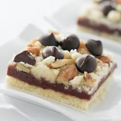 Dark Chocolate Crumb Bars Recipe - These fudgy bars are rich with NESTLE(R) TOLL HOUSE(R) Dark Chocolate Morsels.