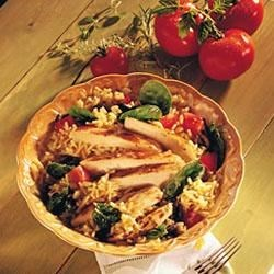 Warm Spinach and Rice Chicken Salad