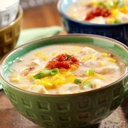 Chicken Corn Chowder Recipe - This creamy, hearty chowder features chicken, corn and bacon, kicked up with picante sauce.