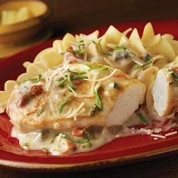 Campbell's Kitchen Chicken with Sun-Dried Tomatoes Recipe - Sun-dried tomatoes, basil and cream of mushroom soup combine to make a luscious, Mediterranean-style sauce for sauteed chicken and egg noodles.