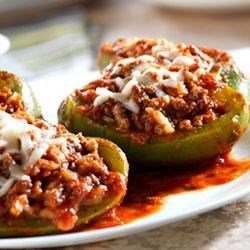 Prego(R) Good-For-You Stuffed Peppers Recipe - Good-for-you and really tasty, these peppers stuffed with rice, beef, mozzarella, and Italian sauce are full of zesty flavor. Serve with a green salad for a complete meal.