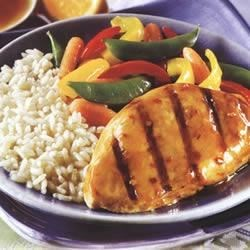 Asian Grilled Chicken Recipe - Swanson(R) Broth balances the vinegar and soy in the marinade to create moist grilled chicken that is served with its own light sauce.