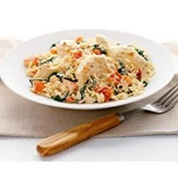 PHILLY Creamy Rice, Chicken and Spinach Dinner Recipe - Whip up this one-skillet dinner for a simple but elegant meal.