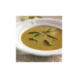 Grilled Asparagus Soup Recipe - Tender grilled asparagus flavors this fabulous soup made with Swanson(R) Vegetable Broth, sauteed onion and garlic, and a hint of fresh rosemary.