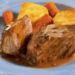 Campbell's(R) Slow Cooker Savory Pot Roast Recipe - This tender pot roast is braised to perfection in a mixture of Campbell's(R) Condensed Cream of Mushroom Soup, onion soup and recipe mix, carrots and potatoes.