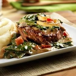 Beef Sirloin Steak with Baby Spinach Recipe - If you've never tried sirloin steak give this family-pleasing version a try. It features a creamy sauce flavored with balsamic vinegar . . . and in just 40 minutes, you've got steak, veggies and potatoes ready to serve.