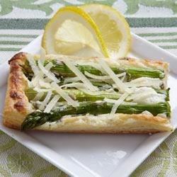 RWOP Finalist: Asparagus and Parmesan Cream Pastry Recipe - From Real Women of Philadelphia 2010 Host Mandy Heaston: Puff pastry squares are spread with cream cheese and Parmesan, topped with fresh asparagus spears and a drizzle of olive oil, then baked until golden brown.
