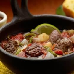 Beef Caldillo Stew Recipe - Beef simmers with potatoes in a flavorful mixture of sauces and spices to make this terrific Mexican-inspired stew.