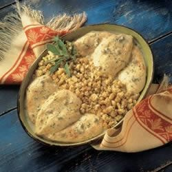 One-Dish Chicken and Stuffing Bake Recipe - This easy version of Grandma's specialty features seasoned stuffing and chicken baked in a creamy mushroom sauce.