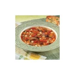 Bean, Pasta and Roasted Pepper Soup Recipe - A colorful combination of ingredients including carrots, celery, onion, parsley and garlic are sauteed together and then simmered with black beans, diced tomatoes, pasta and Swanson(R) Chicken Broth to make a satisfying soup.