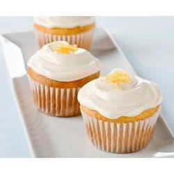 Lemon-Cream Cheese Cupcakes Recipe - Perfect for a potluck or summer picnic, these easy cupcakes and creamy frosting are delicately flavored with lemon.