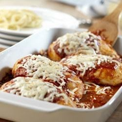 Crispy Chicken Parmesan Recipe - Quick-fix chicken breasts simmer in Prego(R) Pasta Sauce, then are topped with mozzarella cheese.