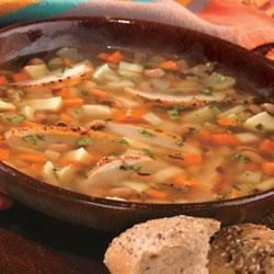 Fall Vegetable Soup with Black-Eyed Peas and Grilled Chicken