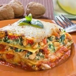 Spinach Lasagna with Walnut Pesto Recipe - A simple lasagna recipe that pairs the rich taste of spinach with a delicious walnut pesto.