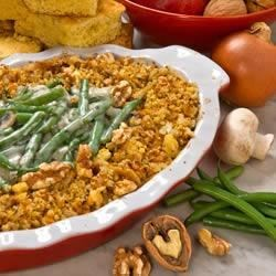 A+ Green Bean and Walnut Casserole Recipe - Here's a winning recipe for an old time favorite including a crunchy walnut topping. Lower in calories, total fat, saturated fat, and reduced sodium all without compromising flavor!