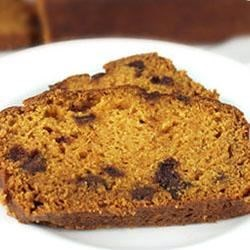 Chocolate Chip Pumpkin Bread Recipe - This spicy pumpkin bread dotted with mini chocolate chips makes a fun seasonal treat.