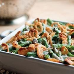 Campbell's(R) Healthy Request(R) Green Bean Casserole Recipe - Enjoy this delicious, lower sodium version of the classic Green Bean Casserole featuring Campbell's(R) Healthy Request(R) Condensed Cream of Mushroom Soup, fresh green beans, reduced sodium soy sauce, low-fat milk, seasonings, and a touch of crushed French fried onions.