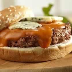 Buffalo Burgers Recipe - Make these burgers on the grill with a Buffalo hot wings-style flavor combination.