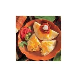 Chicken Quesadillas Recipe - A delectable filling, featuring Campbell's(R) Healthy Request(R) Condensed Cream of Chicken Soup, Swanson(R) Premium Chunk Chicken, shredded Cheddar cheese and chili powder, is sandwiched in flaky tortillas and baked to a crispy turn.