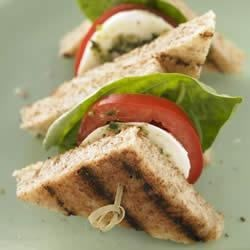 Whole Grain Caprese Sandwich Bites Recipe - Seeking a quick party idea? These sandwich bites are great for entertaining.