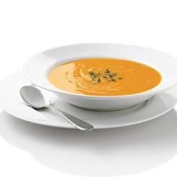 Sweet Potato Soup from Simply Potatoes(R) Recipe - The rich sweetness of sweet potatoes simmered with herbs and spices makes an elegant soup in less than 30 minutes. Perfect for an everyday gluten free recipe or your next holiday meal.