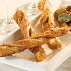 Sweet and Spiced Straws Recipe - Pepperidge Farm(R) Puff Pastry Sheets are sprinkled with a sweet and spicy combination of sugar, cinnamon, red pepper and paprika, cut into strips, twisted and baked until the pastry is golden.