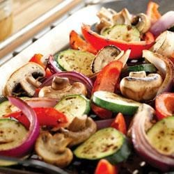 Herb Grilled Vegetables Recipe - Bring out the best flavors of fresh vegetables by basting them with herb-infused chicken broth during grilling. Sometimes simple is best!