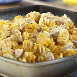 Tuna and Pasta Cheddar Melt Recipe - Pasta cooks to perfection in Campbell's(R) Condensed Chicken Broth and is mixed with a comforting blend of Cheddar cheese, tuna fish, bread crumbs and Campbell's(R) Condensed Cream of Chicken Soup.