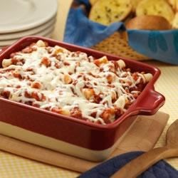 Baked Ziti Casserole Recipe - Layers of pasta, meat sauce and mozzarella cheese baked together for a satisfying family casserole.