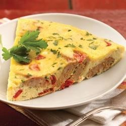 al fresco Roasted Pepper and Asiago Chicken Sausage Frittata Recipe - For breakfast, brunch or a light supper, this frittata with sliced chicken sausage, roasted peppers, grated Parmesan and hot sauce is a quick and tasty choice.