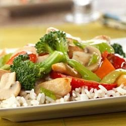 Chicken and Vegetable Stir-Fry Recipe - Chicken and a colorful combination of vegetables are quickly stir-fried and served over rice.