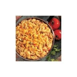 Campbell's(R) Spicy Salsa Mac 'n' Beef Recipe - Campbell's(R) Condensed Beef Broth and Campbell's(R) Condensed Cheddar Cheese Soup provide the perfect texture and taste for this zippy version of the all-time favorite macaroni and cheese, that includes ground beef and spicy salsa.