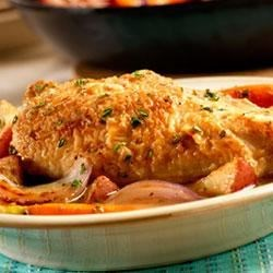 Pan Sauteed Chicken with Vegetables and Herbs Recipe - Chicken breasts are sauteed in the skillet until golden brown and then finished in the oven with potatoes, onions, carrots, fresh herbs and Swanson(R) Chicken Stock.