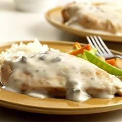 Chicken in Mushroom Sauce Recipe - Chicken breasts simmered in a creamy mushroom sauce are served with rice.