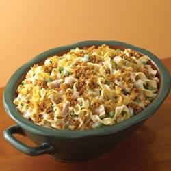 Campbell's(R) Tuna Noodle Casserole Recipe - Campbell's(R) Condensed Cream of Mushroom Soup flavors a creamy sauce that is mixed with tuna, egg noodles and peas, topped with a crunchy bread crumb topping and baked to perfection.