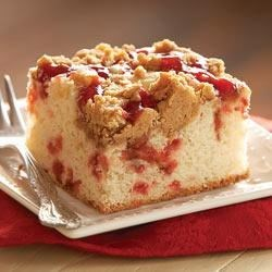 Strawberry Coffee Cake with Peanut Butter Streusel Recipe - Strawberry coffee cake topped with a peanut butter and strawberry jam streusel topping bakes up for a special coffee break treat.