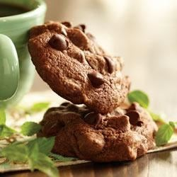 Chocolate-Mint Brownie Cookies Recipe - All of the richness of a brownie in cookie form! Mint chocolate chips and peppermint extract give these cookies an extra something special.