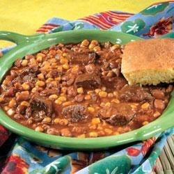 Mexican Beef and Bean Stew Recipe - This hearty stew with south-of-the-border flavors features Campbell's(R) Condensed Beef Consomme, tender beef, corn, beans, salsa, garlic and savory spices.
