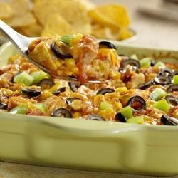 Monterey Chicken Tortilla Casserole Recipe - An easy version of a south-of-the-border classic chilaquiles; this dish uses leftover tortilla chips layered with chicken, Pace(R) Picante, corn, olives and cheese.