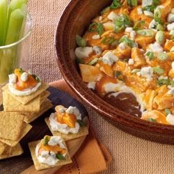 PHILLY Buffalo Chicken Dip Recipe - This tasty appetizer takes only 12 minutes to prepare and is perfect for last minute entertaining. Guests are sure to love the modern twist on classic buffalo wings.