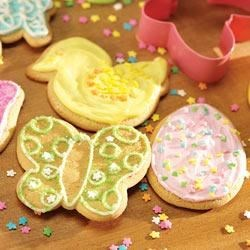 Frosted Easter Cut-Outs Recipe - Use your favorite holiday cookie cutters to create delightful cookies ready for frosting.