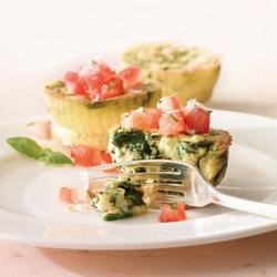 Mini Florentine Frittatas Recipe - Eggs and Real Cream are a perfect pairing for a quick weeknight dinner. While the frittatas are baking, make the fresh bruschetta topping, toss a side salad and dinner is ready!