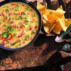 Sausage con Queso Dip Recipe - This unforgettable cheese dip is so delicious, and it's ready in just 15 minutes. Feel free to substitute your favorite salsa for the diced tomatoes and green chilies. Serve with tortilla chips at your next fiesta!