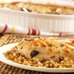 Asian Chicken and Rice Bake Recipe - Sweet 'n' sour seasoning for a creamy mushroom sauce gives this chicken 'n' rice casserole an exotic note.