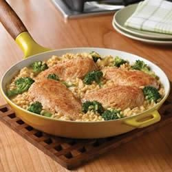 Campbell's(R) Quick and Easy Chicken, Broccoli and Brown Rice Dinner Recipe - This easy skillet supper features chicken, broccoli and brown rice simmering in a creamy gravy made with Campbell's(R) Condensed Cream of Chicken Soup