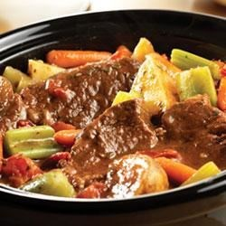 Zesty Slow-Cooker Italian Pot Roast Recipe - Chuck roast, potatoes, celery and carrots simmer to tenderness in the slow-cooker with an Italian-inspired tomato sauce made special with Campbell's(R) Condensed Tomato Soup.