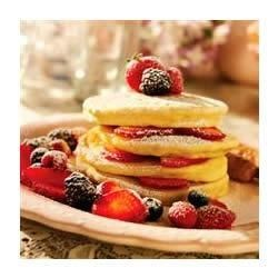 Peanut Butter Feather Pancakes Recipe - Serve these light and puffy peanut butter pancakes with syrup, fresh fruit, or a dusting of powdered sugar.